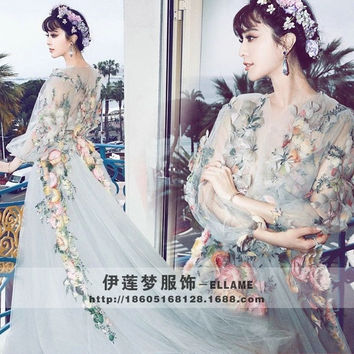 Studio High-end Dresses Cannes Film Festival Fan Bingbing Same Paragraph Flower Fairy Dress Elegant Catwalk Stage N171,one Size (Size: M, Color: Multicolor) = 1747742148