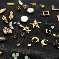 Gold and Moonstone Earring Pack - Urban Outfitters