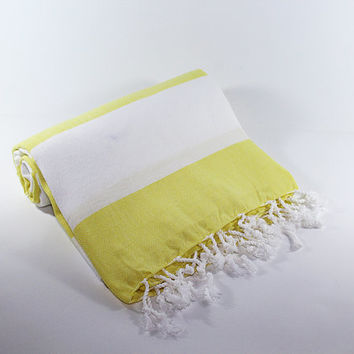 Yellow Beach Towel | White | Peshtemal Towel | Turkish Beach Towel | Beach Sarong | Yellow Turkish Towel | Peshtemal | Beach Wrap | Summer