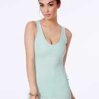 Missguided - Demetra Ribbed Bodycon Mini Dress In Mint