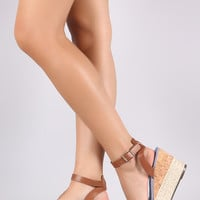 Bamboo Knotted Bow Cork Espadrille Wedge