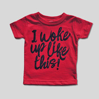 I Woke Up Like This Shirt, Baby Shower Gift, Baby Girl Clothes, Cute Baby Clothes, Cute Baby Girl Clothes, Black and Red