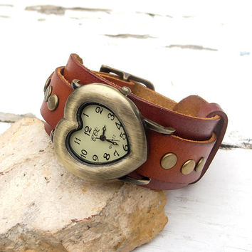 Leather watch, Women wrist watch, Women leather cuff watch, Heart shape watch cuff, Cowhide