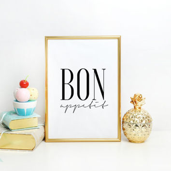 KITCHEN PRINT Bon Appetit print kitchen wall art printable art fork and spoon wall art printable kitchen art kitchen quote dining