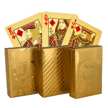 New Year - Golden Playing Cards gold foil poker set high quality with wooden box playing cards pokerstars party game