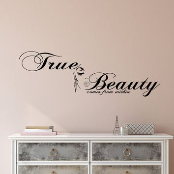 Vinyl Wall Decal True Beauty Comes From Within Salon Quote Stickers (2741ig)