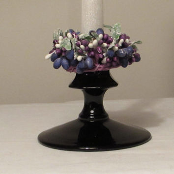 Black Amethyst Glass Candleholder,  L.E. Smith Black Amethyst Glass Candleholder, Replacement Candle Holder, Home Decor, laslovelies