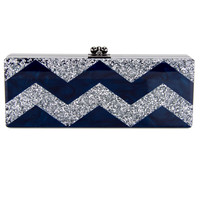 Edie Parker Navy and Silver Glitter Flavia Clutch
