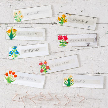 Vintage Glass Floral Place Markers, Hand Painted Flowers on Mirrors, Set of 8, Original Box