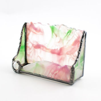 Business Card Holder Desk, Pink and Green, Stained Glass, Home Office Decor, Desk Accessories, Desktop Organization, Coworker Gift