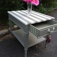 Hand Painted Striped End Table