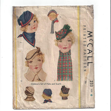 McCall 233 Pattern for Children's Set of Hats & Scarfs, From 1934, Size 6, Vintage Pattern, Home Sewing Pattern, 1934 Fashion Hats, Scarves