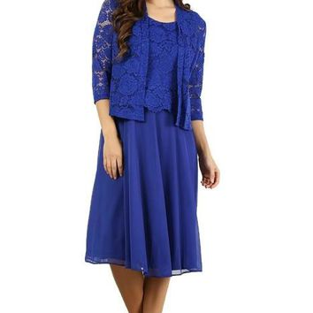 Short Mother of the Bride Formal Lace Jacket Dress