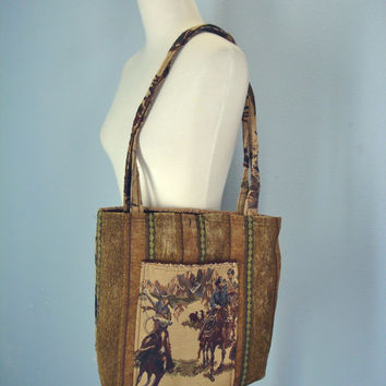 Vintage Boho Purse / Horse Shoulder Bag / Tapestry Tote / 80s Southwestern