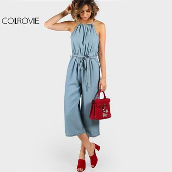 e99f33ef5a3 COLROVIE Blue Denim Culotte Jumpsuit Halter Split Back Women Chambray  Summer Jumpsuit 2017 Self Tie Casual