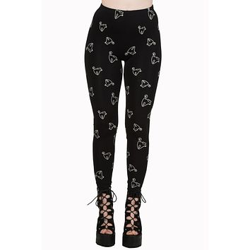 Rockabilly Gothic Spooky Night Black Cat Print Nine Lives Leggings