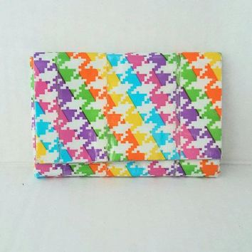 Rainbow Houndtooth Coin Purse, Unique Women's Duct Tape Wallet