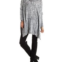 Marled Cowl Neck Sweater Poncho with Slits