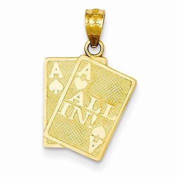 14k Gold Ace of Hearts & Ace of Spade All In! Cards Pendant