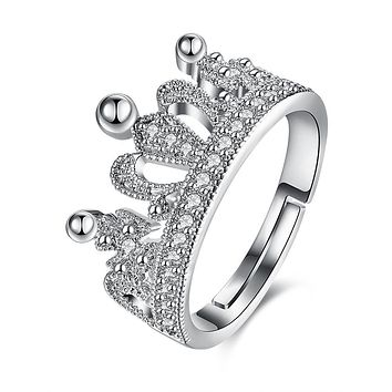Swarovski Elements Adjustable Princess Tiara Ring in 18K White Gold Plating 925 Sterling Silver Unique Casual Rings