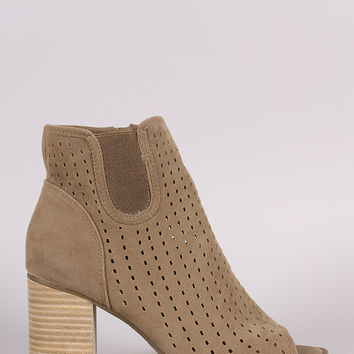 Perforated Peep Toe Chunky Heeled Ankle Boots