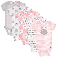 Baby Girls 5-Pack Short Sleeve Bodysuits (3-6m) 311162513