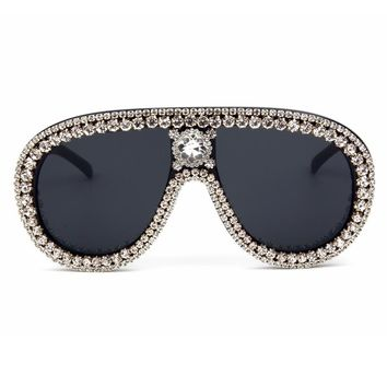 2b7bc530df1a Oversized Sunglasses Women Luxury Brand Designer Bling Rhineston