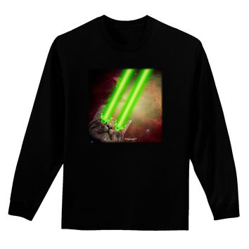 Laser Eyes Cat in Space Design Adult Long Sleeve Dark T-Shirt by TooLoud
