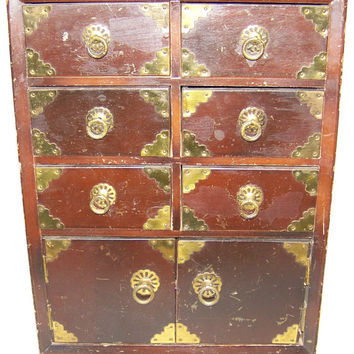 Antique Oriental Music Jewelry Box, Mahogany Wood, Brass Accenting, 8 storage drawers, Pearls, Diamonds, Jade, Onyx, Estate Sale Find, NICE!