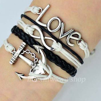 Love and infinity bracelet,Anchor bracelet,Charm Bracelet in silver,white Wax Cords,black Leather Braid,friendship gift