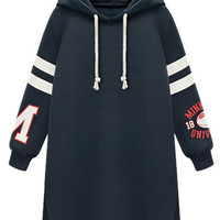 Navy Letter And Number Pattern Side Split Longline Hoodie
