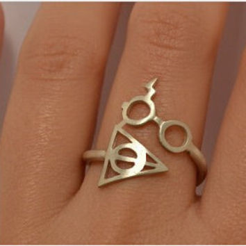 Fashion Hot Jewelry Harry Potter And The Deathly Glasses Artifact Ring For Men and Women- Best Christmas Gift