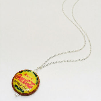 Coca-Cola pendant necklace, Coca-Cola jewelry, Coke, Retro advertising, decoupage bead, Coca-Cola Atlanta, Bottle cap necklace, Memorabilia