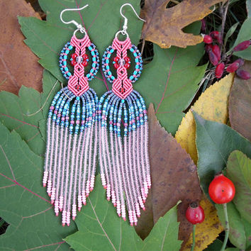 Long micro macrame earrings - Tassel Fringe Coral Turquoise Aqua Blue Unique Beadwork Bohemian Boho