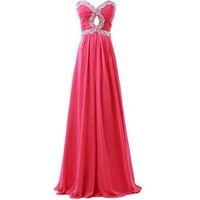 Fashion Plaza Gorgeous Chiffon Strapless Rhinestone Formal Party Dress D0119