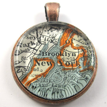 New York City, Brooklyn, New York, Pendant from Vintage Map, in Glass Tile Circle