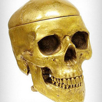 Gold Human Skull Shaped Box | PLASTICLAND