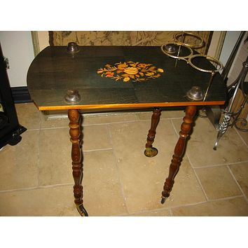 Italian Bar Cart Inlaid Floral Medallion Marquetry On A Roll Brass Bottle Holders