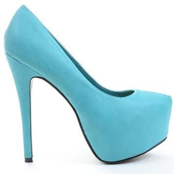 Agusto Faux Leather Women Platform Pump Heels Aqua Teal