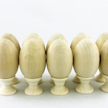 Lot of 10 Wooden Decoupage Eggs For Painting Souvenir Blank Unpainted Gift Handicraft