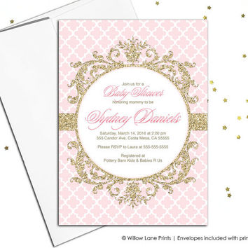 Pink and gold baby shower invitation girls - unique party invite - printable or printed - WLP00792