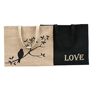 Design Imports Burlap Shopping Totes - Set of Two 28301