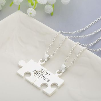 2pcs Puzzles Pendant Necklaces Friendship Necklace Best Friends Forever Creative Keepsake Memorial Day Christmas Gift For Friend