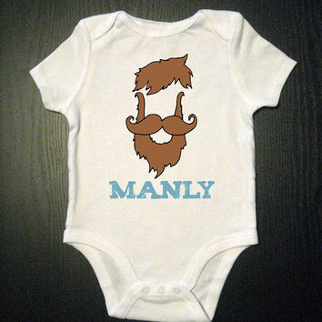 Beardy Man Funny Baby Onesuit Kids Shirt by VicariousClothing