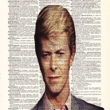 David Bowie Art, Glam Rock Poster, Dictionary Art Print, Upcycled Book Art, Home Decor, Wall Decor, Mixed Media Art
