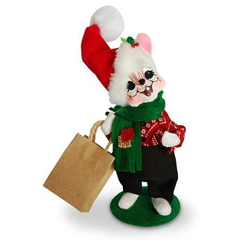 Annalee Dolls 2016 Christmas 6in Shopping Boy Mouse Plush New with Tags