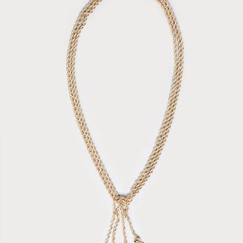 bebe Womens Tassel Rope Chain Necklace Gold
