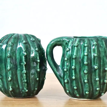 Cactus Sugar and Creamer Set - Vintage - Sugar Shaker - Creamer Pitcher - Cactus Decor - Cactus Lovers - Vintage Kitchen - Kitchen Decor