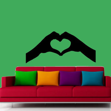 Heart Shape Hands Vinyl - Wall Decoration - Wall Decal