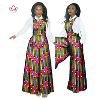 BRW 2017 African Pant Set For Women Dashiki White Shirt & Loose Style Belt Pants Plus Size African Clothing for Women WY482